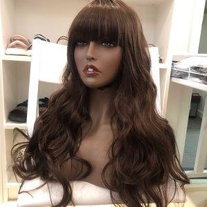 Two human hair blend dark brown wig